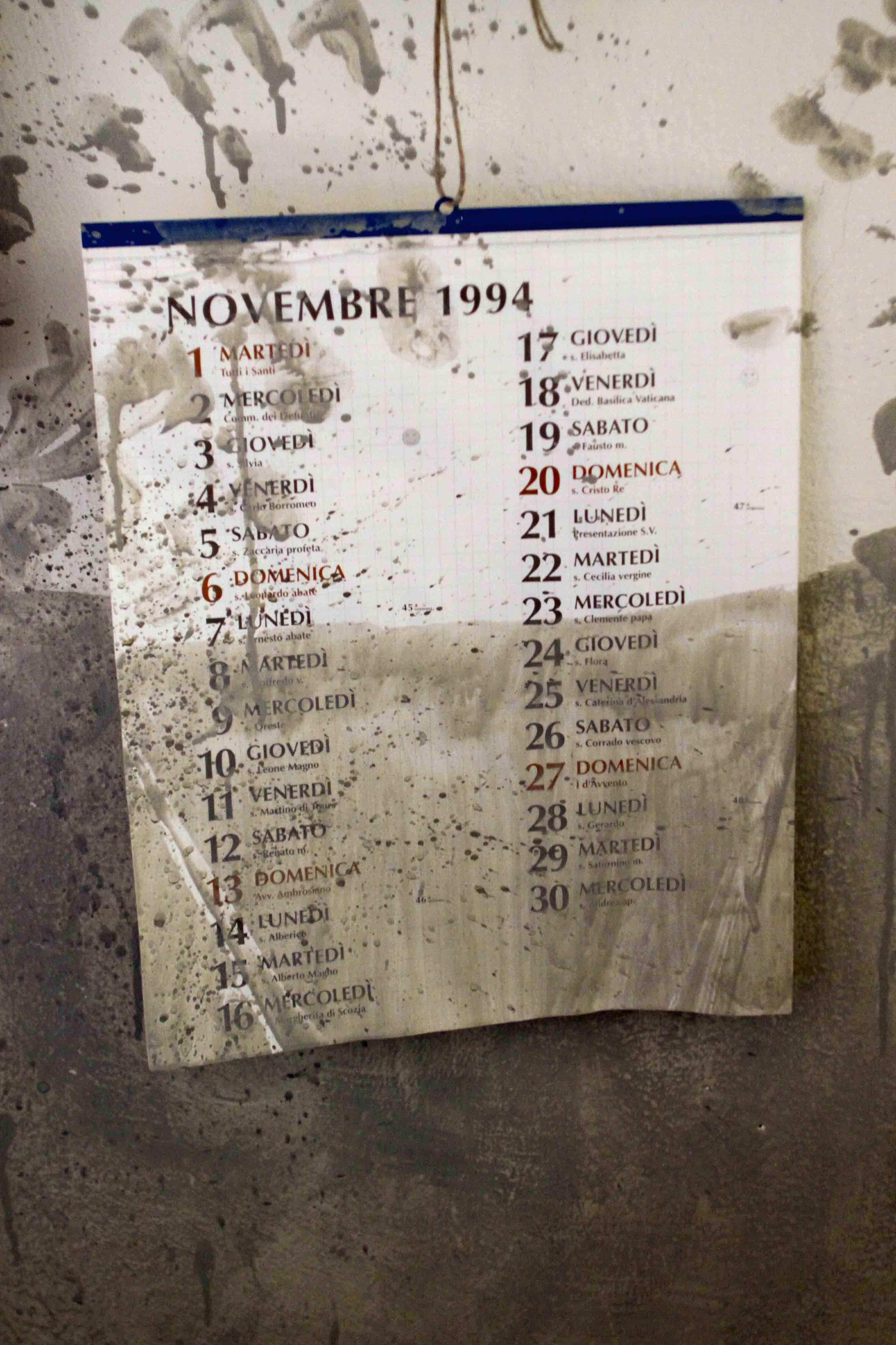 il calendario del giorno dell'alluvione